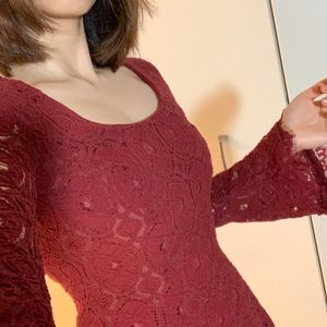 Red/ burgundy lace dress